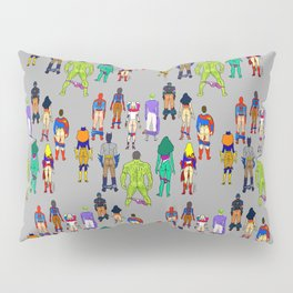 Superhero Butts - Power Couple on Grey Pillow Sham