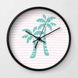 Palm Trees & Stripes - Aqua / Blush Wall Clock
