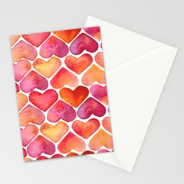 Oragne and Pink Watercolor Love Heart Pattern Stationery Cards