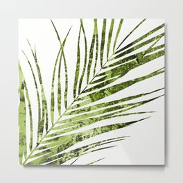 Palm Leaves XI - Abstract Sap Green Metal Print
