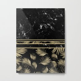 Black Marble Meets Tropical Palms #1 #decor #art #society6 Metal Print
