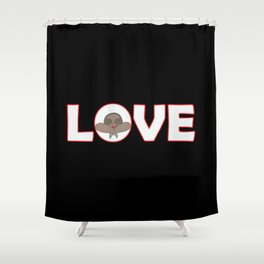 """""""Love sign"""" with sloth head Shower Curtain"""