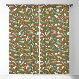 Fishing Lures Green Blackout Curtain