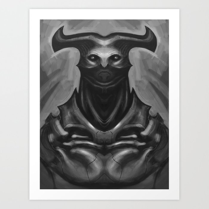 Horned Demon Knight Art Print By Kirkpesigan Society6