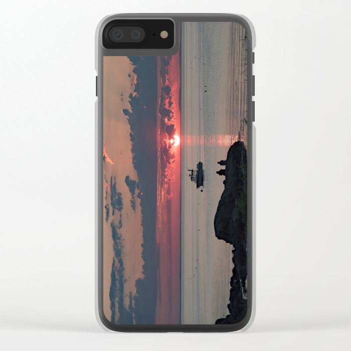 Sunset on the rocks Clear iPhone Case
