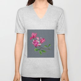 Magnolia Flowers in Watercolor | Bluish Grey Color Palette Unisex V-Neck