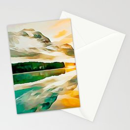 Mountain Lake, Sunset Reflection Stationery Cards