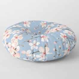 Cherry Blossom, blush pink watercolor on slate blue Floor Pillow