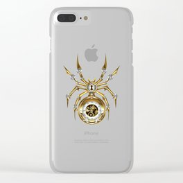 Spider with Clock ( Steampunk ) Clear iPhone Case