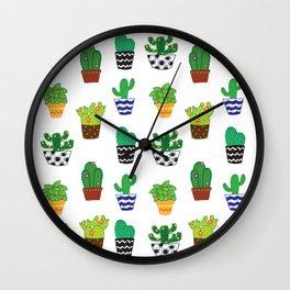 Cacti in pots Wall Clock