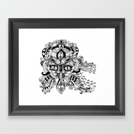 Mask Face Framed Art Print