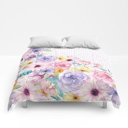 Modern pink lavender watercolor floral polka dots Comforters