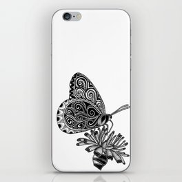 Tangled Butterfly on White iPhone Skin