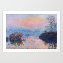 Claude Monet - Sunset On The Seine At Lavacourt Winter Effect Art Print
