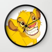 simba Wall Clocks featuring Simba Pixel Art by Luxatr