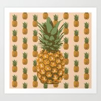pineapples Art Prints featuring Pineapples by brocoli art print