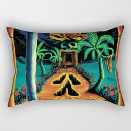 Psychedelic Surreal Trippy Art  by Vincent Monaco - Skull Garden Illusions Rectangular Pillow
