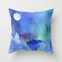 northern lights Throw Pillows featuring Northern Lights by Ricardo Moody