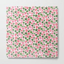 Pink & Green Monstera Metal Print