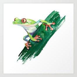 Frog. Watercolor illustration. Hand drawing Art Print