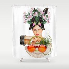 Orange Sunglasses by Lenka Laskoradova Shower Curtain