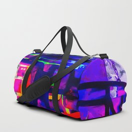 OPEN neon sign with pink purple red and blue painting abstract background Duffle Bag