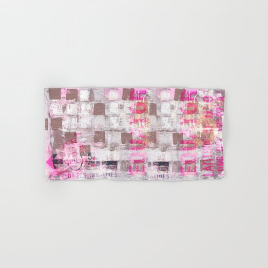 Abstract grunge Squares pating with typography Hand & Bath Towel