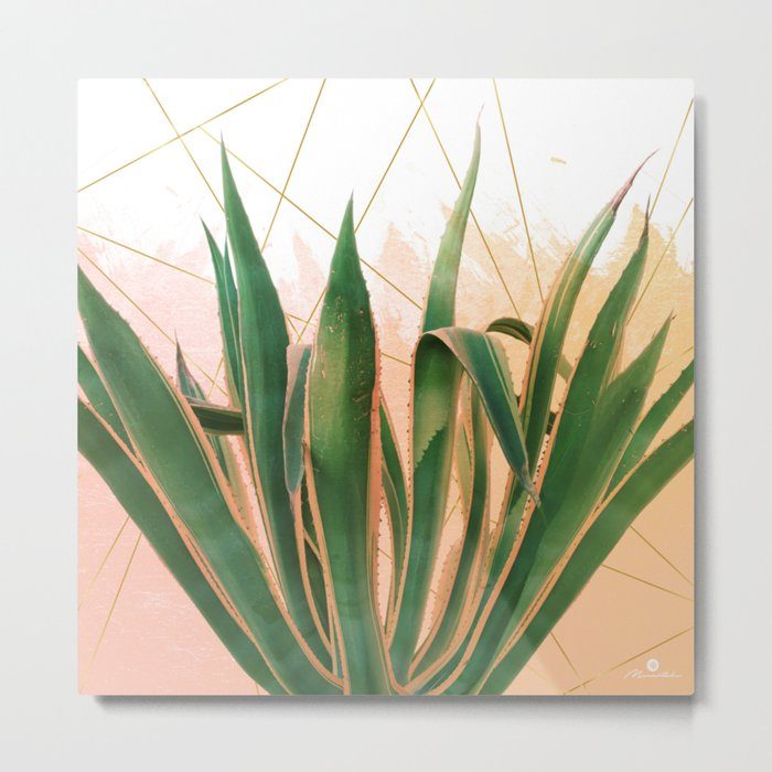 Cactus with geometric Metal Print