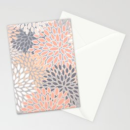 Flowers Abstract Print, Coral, Peach, Gray Stationery Cards