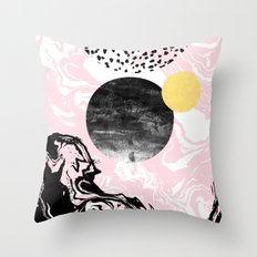 Gloriana - galaxy outer space abstract painting planets moon sun black and white pastel pink gold  Throw Pillow
