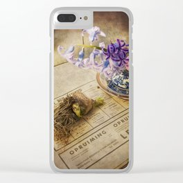Still Life- Hyacinths and Old Newspaper Clear iPhone Case