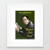 better call saul Framed Art Prints featuring Better Call Saul by Denis O'Sullivan