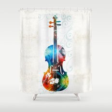 Colorful Violin Art by Sharon Cummings Shower Curtain