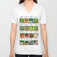 vegetable V-neck T-shirts featuring Vegetable Seeds by La Maison du Lapino