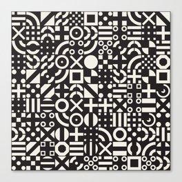 Black and White Irregular Geometric Pattern Print Design Canvas Print