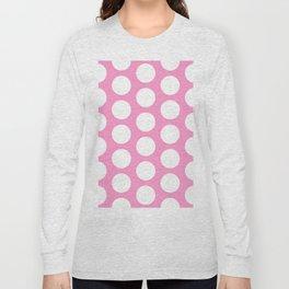 White circles on pink Long Sleeve T-shirt