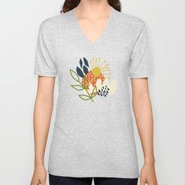 Retro Abstract Florals Unisex V-Neck