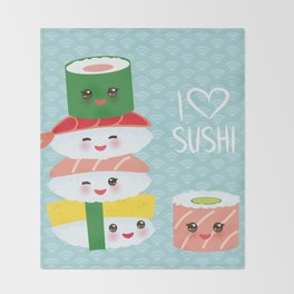 I love sushi. Kawaii funny sushi set with pink cheeks and big eyes, emoji. Blue japanese pattern Throw Blanket