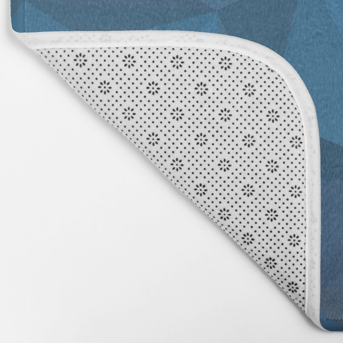 blue geometric Bath Mat