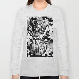 Flower Daze In Black And White Long Sleeve T-shirt
