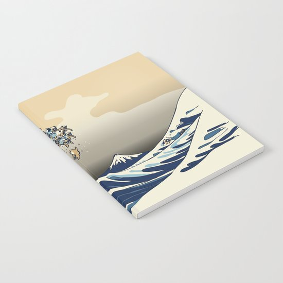 The Great Wave of Pugs Vanilla Sky Notebook