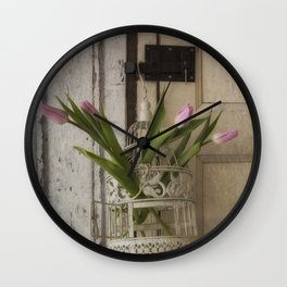 Pink Tulips in a white birdcag Wall Clock