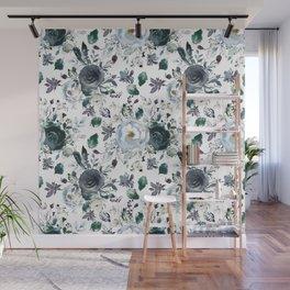 Botanical navy blue gray green watercolor peonies motif Wall Mural
