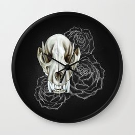 Wolf skull and peonies Wall Clock