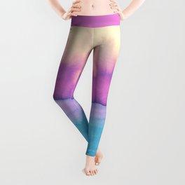 Modern pink purple teal colorful watercolor pattern Leggings