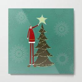 Christmas tree and Santa Metal Print