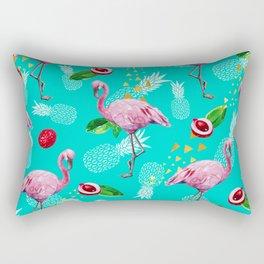 Tropical fruits among flamingos Rectangular Pillow