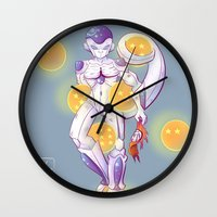 dbz Wall Clocks featuring DBZ Frieza  by Whimsette