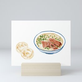 Watercolor Illustration of Chinese Cuisine - Gansu Basin Mutton Soup Noodle   甘肃水盆羊肉 Mini Art Print