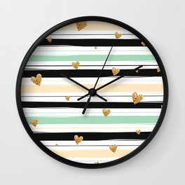Handmade colorful stripes with gold hearts pattern Wall Clock